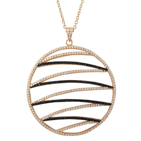 Luxiro Rose Gold and Black Finish Sterling Silver Cubic Zirconia Circle Pendant Necklace - Pink