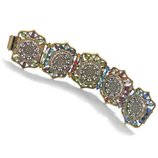 Sweet Romance Rainbow Crystal Moorish Statement Bracelet