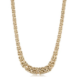 Fremada 14k Yellow Gold Graduated Byzantine Necklace (17.25 inches)