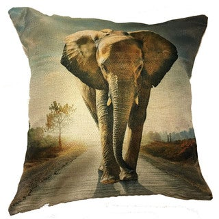 Lillowz Walking Elephant Canvas Throw Pillow 17-inch