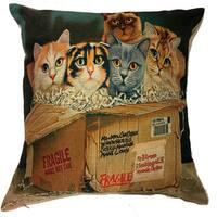 Lillowz  Kitty Box Canvas Throw Pillow 17-inch