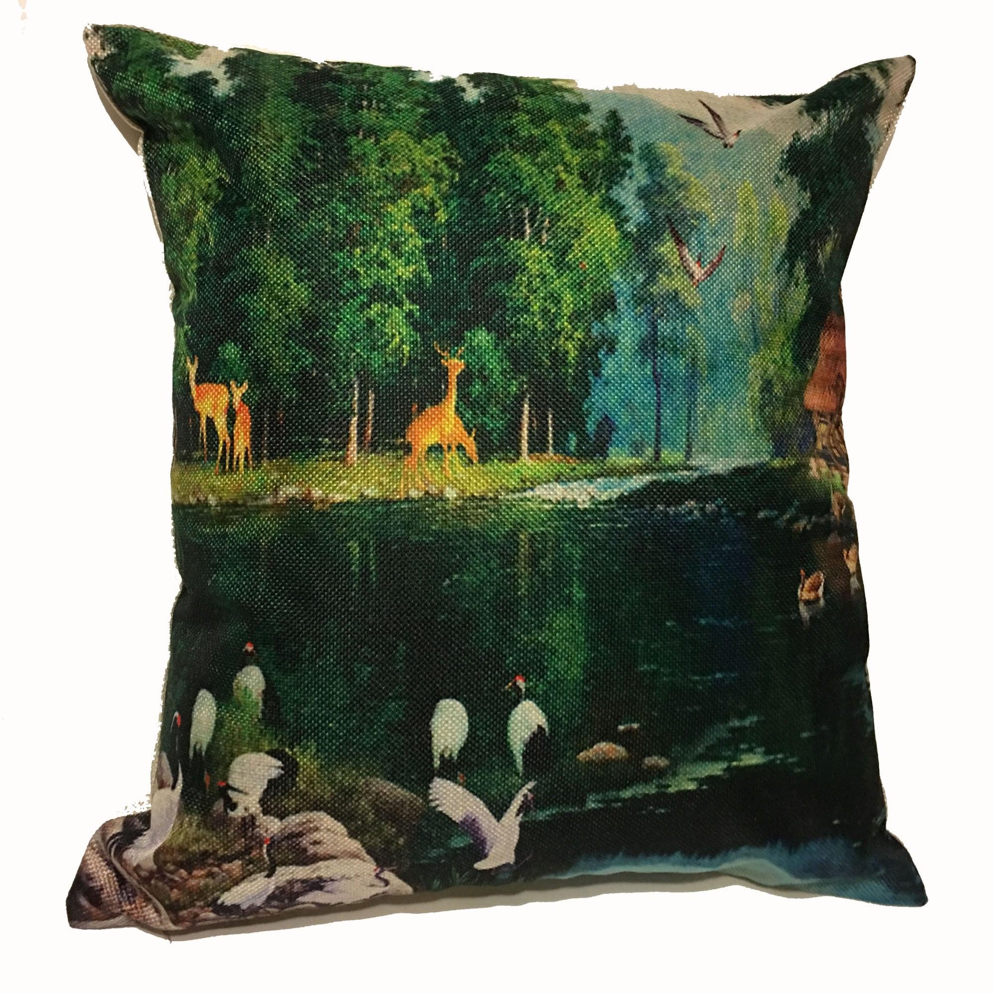 Lillowz Deer Lake Scene Canvas Throw Pillow 17-inch (Deer...
