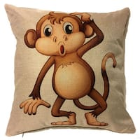 Lillowz  Curious Monkey Canvas Throw Pillow 17-inch