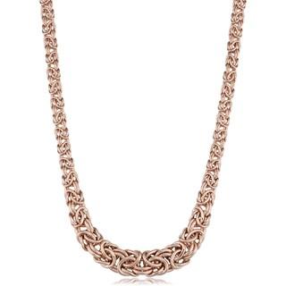 Fremada 14k Rose Gold Graduated Byzantine Necklace (17.25 inches)