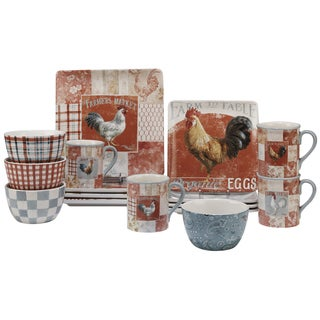 Certified International Farm House Rooster 16 -Piece Dinnerware Set