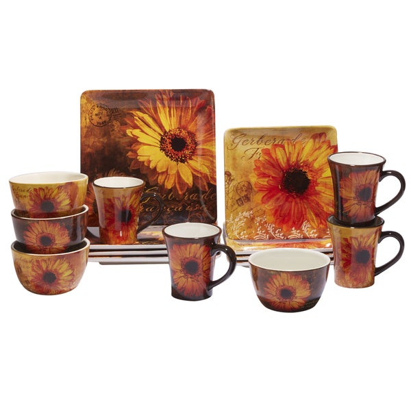 Certified International Gerber Daisy 16 -Piece Dinnerware Set, Service for 4