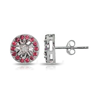 Glitzy Rocks Sterling Silver Genuine Ruby and Diamond Accent Illusion-Set Stud Earrings