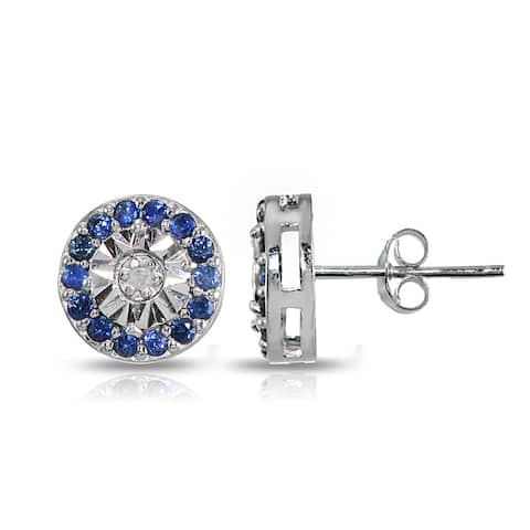 Glitzy Rocks Sterling Silver Genuine Blue Sapphire and Diamond Accent Illusion-Set Stud Earrings