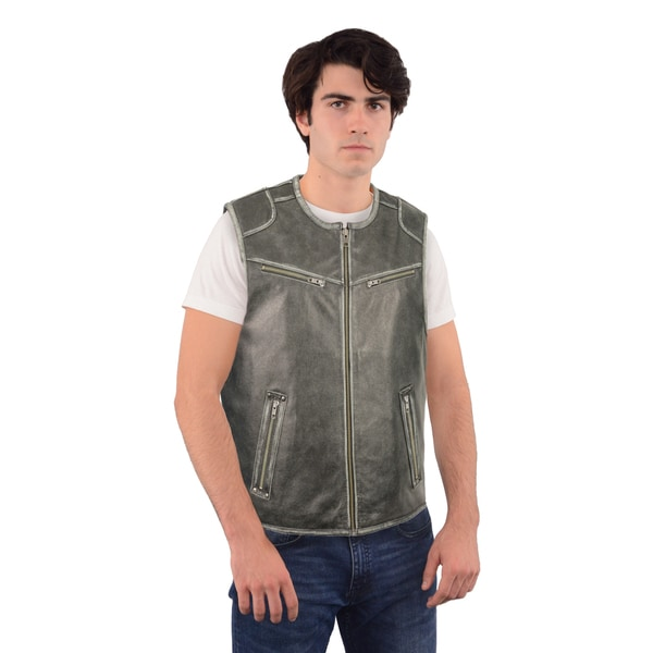 MEN'S DISTRESSED GREY ZIPPER FRONT VEST
