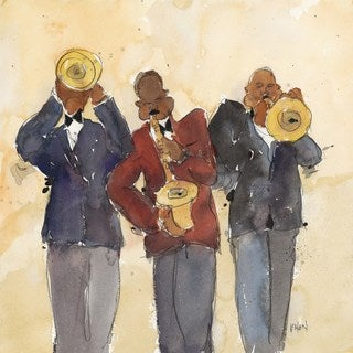 Jazz Trio I' Painting Print on Wrapped Canvas - Black