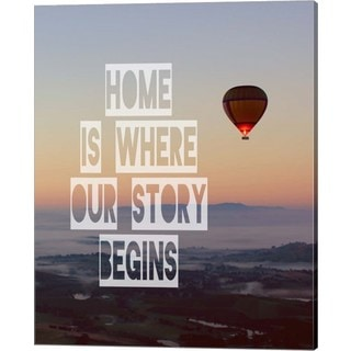 Color Me Happy 'Home is Where Our Story Begins Hot Air Balloon Color' Canvas Art
