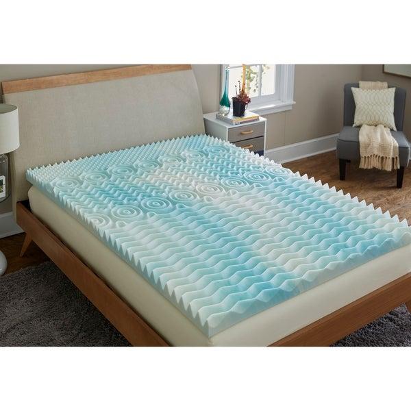 TruPedic USA CoolFlow 5 Zone 3-inch Textured Gel Memory Foam Mattress Topper