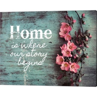Color Me Happy 'Home is Where Our Story Begins Pink Flowers' Canvas Art