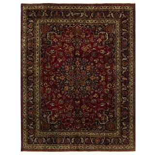 Herat Oriental Persian Hand-knotted Mashad Wool Rug (9'9 x 12'6)