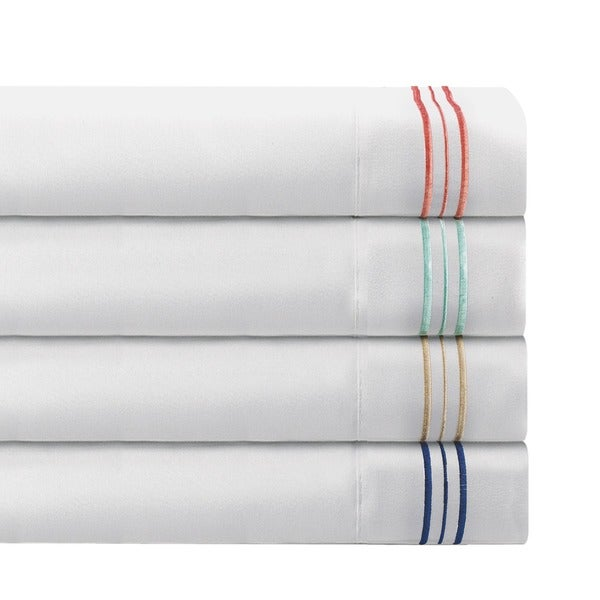 Ultra Soft 1800 Series White Sheet Set with 3 Line Embroidered Stripe Accent