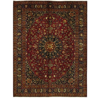 Herat Oriental Persian Hand-knotted Mashad Wool Rug (9'10 x 12'9)