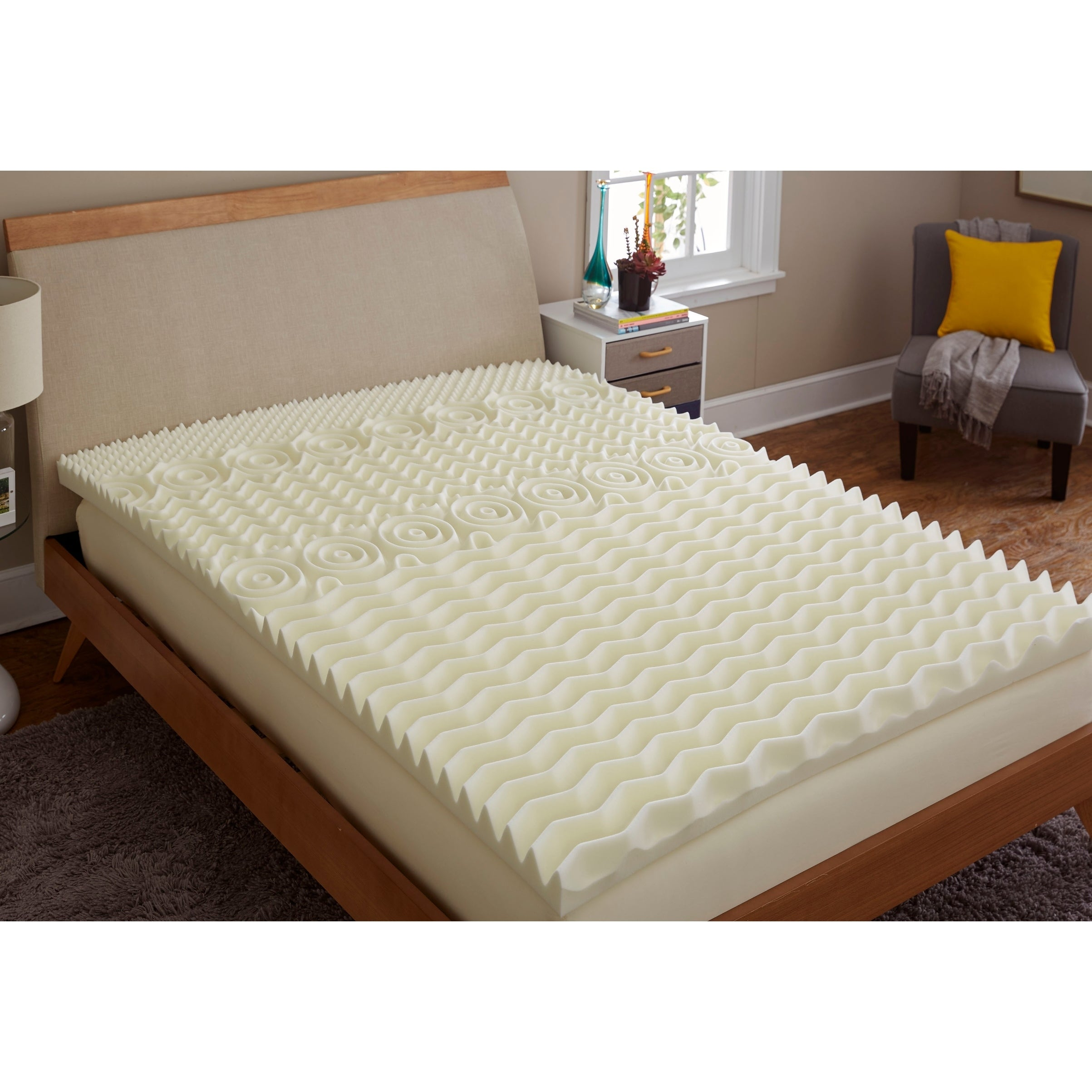 TruPedic USA CoolFlow 5 Zone 3-inch Textured Memory Foam ...