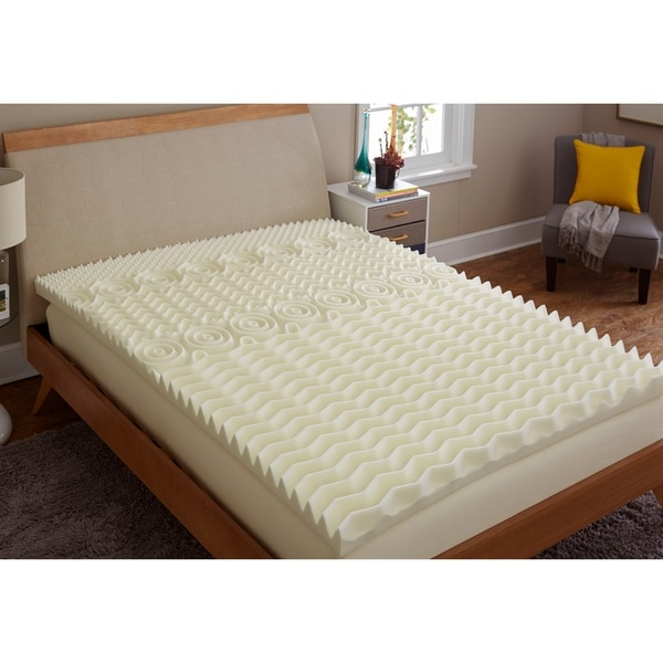 TruPedic USA CoolFlow 5 Zone 3-inch Textured Memory Foam Mattress Topper