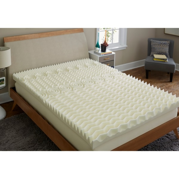 TruPedic USA CoolFlow 5 Zone 4-inch Textured Memory Foam Mattress Topper