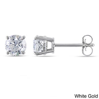 Miadora Signature Collection 14k Gold 1ct TDW Certified Round Diamond Stud Earrings (H-I, I1-I2)
