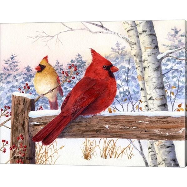 Maureen Mccarthy 'Cardinal Pair with Birch' Canvas Art
