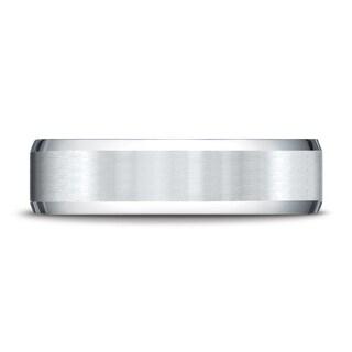 Platinum 6mm Comfort-fit Satin-finished With High Polished Beveled Edge Carved Design Band