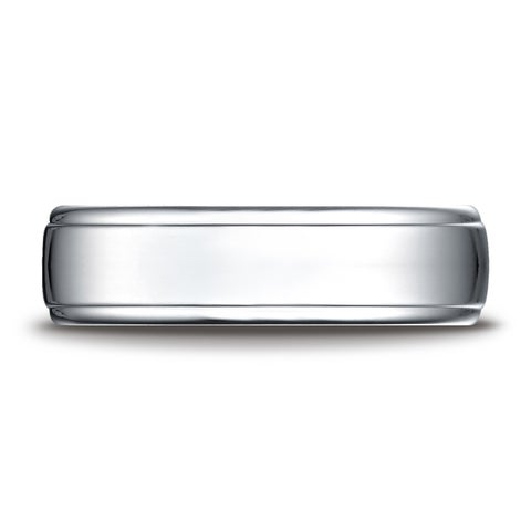 Platinum 6.5mm Comfort-fit Drop Edge High Polish Design Band