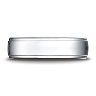 Platinum 6.5mm Comfort-fit Drop Edge High Polish Design Band
