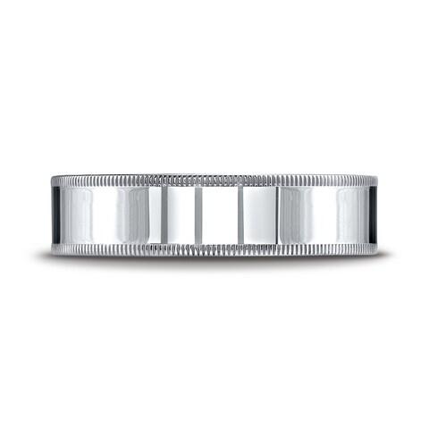 Platinum 6mm Flat Comfort-fit Ring With Milgrain