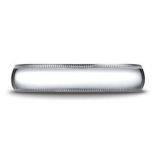 Platinum 5mm Slightly Domed Super Light Comfort-fit Ring With Milgrain