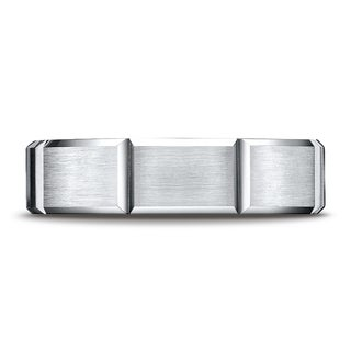 Platinum 6mm Comfort-fit Satin-finished Grooves Carved Design Band