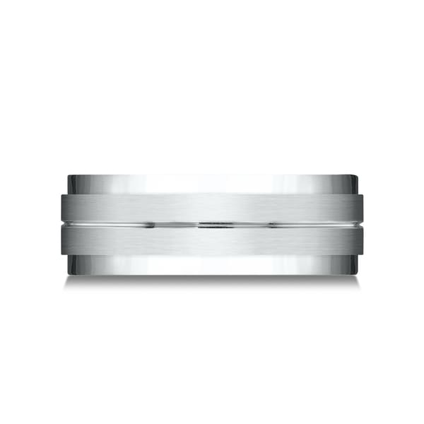 Platinum 8mm Comfort Fit Drop Bevel Satin Finish Center Design Band