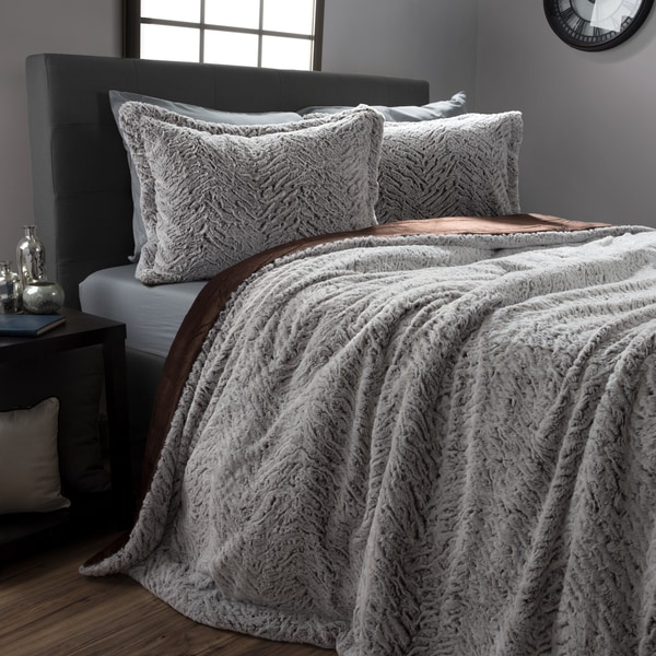 Mink Faux Fur 3 Piece Comforter and Sham Set by Windsor Home. Opens flyout.
