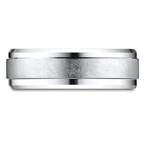 Platinum 7mm Comfort-fit Drop Bevel Swirl Finish Center Design Band