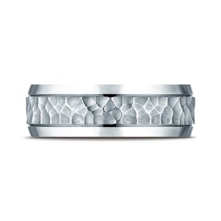 Platinum 7.5mm Comfort Fit Hammered Finish Beveled Edge Design Band (More options available)
