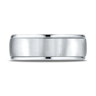 Platinum 8mm Comfort-fit Satin Finish High Polished Round Edge Carved Design Band