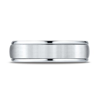 Platinum 6mm Comfort-fit Satin Finish High Polished Round Edge Carved Design Band