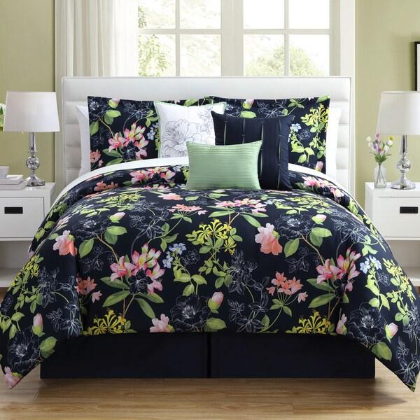 Augustine Floral 7-Piece Microfiber Comforter Set