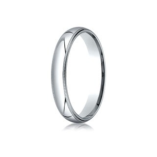 Platinum 4mm Slightly Domed Super Light Comfort Fit Ring With Milgrain