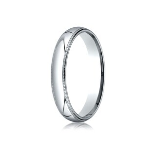Platinum 4mm Slightly Domed Super Light Comfort-fit Ring With Milgrain