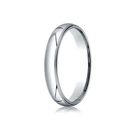 Platinum 4mm Slightly Domed Standard Comfort-fit Ring With Milgrain