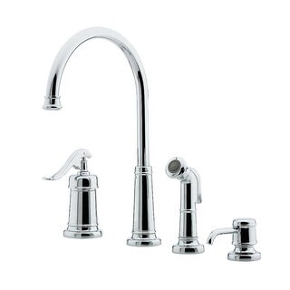 Pfister Ashfield LG26-4YPC Polished Chrome 1-handle Kitchen Faucet with Soap Dispenser and Sidespray