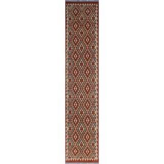 Noori Rug Sangat Kilim Cebrail Red/Green Runner - 2'9 x 13'1