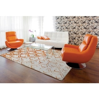 Dynamic Rugs Vogue Grey/Rust Wool/Viscose Geometric Area Rug (6'7 x 9'6)