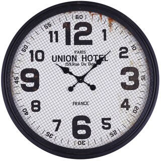Antique Black/White Iron 30.5-inch Round Arabic Wall Clock