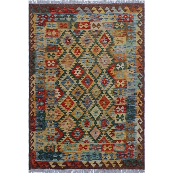 Shop Sangat Kilim Caatay Gold/Green Rug