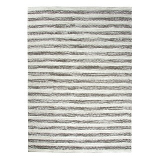 Dynamic Rugs Topaz Grey Wool Striped Reversible Area Rug (5' x 7')