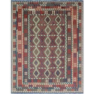 Noori Rug Sangat Kilim Irem Green/Red Rug - 10'0 x 12'11