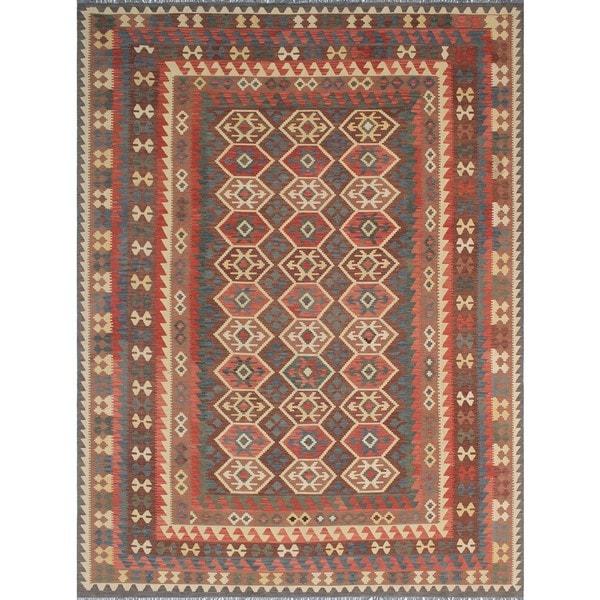 Shop Noori Rugs Sangat Kilim Idris Brown Rust Wool Rug 10 X 12