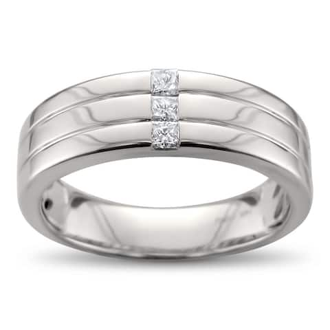 Men's 14k White Gold 1/5ct Princess-cut Diamond Wedding Band (H-I, I1)